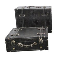 Antique Style Suitcase With Straps (Set of 2)