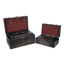 <strong>Quickway Imports</strong> Princess Leather Trunk (4 Piece Set)