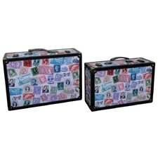 World Stamp Travel Suitcase (Set of 2)