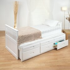 Single Captain Bed Frame with Guest Bed Frame and Drawers