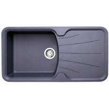Korona Single Bowl Inset Sink and Drainer in Graphite Grey