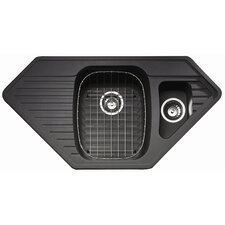 Vector 1.5 Bowl Inset Sink and Drainer in Volcanic Black