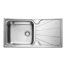 Korona Single Bowl Inset Sink and Drainer in Stainless Steel