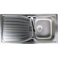 Alto Single Bowl Inset Sink and Drainer in Brushed Steel