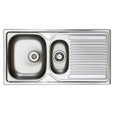 Aegean 1.5 Bowl Inset Sink and Drainer in Satin Steel