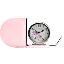 Fold Away Alarm Clock with Genuine Leather Case
