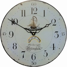 Wall Clock Face with Ship Motif