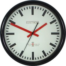 Swiss Station Clock in Black with Sweep Second Hand