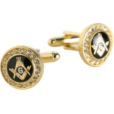 <strong>Cuff-Daddy</strong> Crystal Masonic Cufflinks in Gold