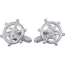 <strong>Cuff-Daddy</strong> Nautical Ships Wheel Cufflinks in Sterling Silver