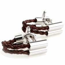 Leather Wrap Around Cufflinks in Brown