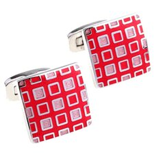 Pixelated Cufflinks in Pink / Red