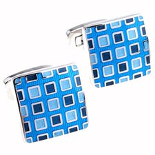 Pixelated Cufflinks in Blue