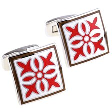 Rich Enamel Cufflinks in Red / White / Brown