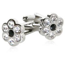 Flower Cufflinks with Black Crystal