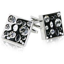 Sparkling Gray Silver Crystal Cufflinks
