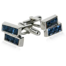 Offset Blue Crystals Cufflinks
