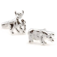 .925 Sterling Silver Bull and Bear Cufflinks