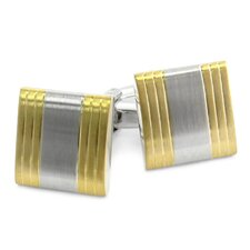 Brushed Two Tone Silver Cufflinks