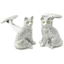 Peridot Swarovski Crystal Cat Cufflinks