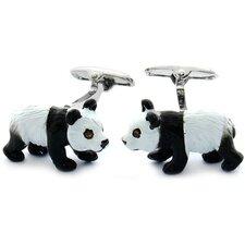 Smoked Topaz Swarovski Crystal Panda Cufflinks