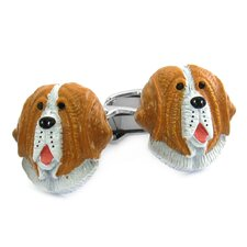 Swarovski Crystal Painted Saint Bernard Cufflinks