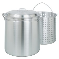 Aluminum Stock Pot with Lid and Basket