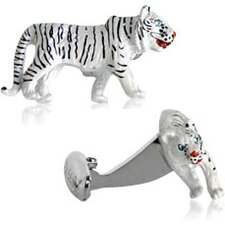 Tiger Cufflinks in White