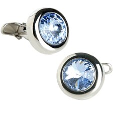 Austrian Crystal Solitare Cufflinks in Light Sapphire