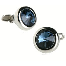 Austrian Crystal Solitare Cufflinks in Montana Blue