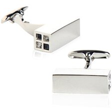 Austrian Crystal Highlights Cufflinks in Black / Gray (Set of 2)