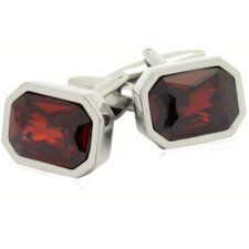 Austrian Shimmering Crystal Cufflinks in Siam Red