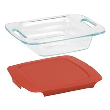 "Easy Grab 8"" Square Baking Dish with Plastic Cover"