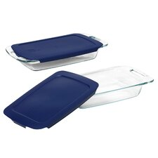 Easy Grab 4 Piece Oblong Bakeware Set with Plastic Cover