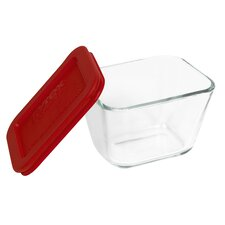Storage Plus 1.875-Cup Rectangular Storage Dish with Red Plastic Cover