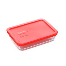 Storage Plus 3-Cup Rectangle Storage Dish with Red Plastic Cover
