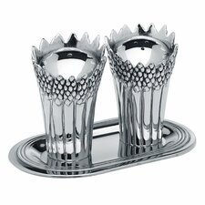 <strong>Godinger Silver Art Co</strong> 3 Piece Aspargus Salt and Pepper with Tray Set