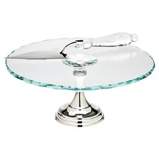 <strong>Godinger Silver Art Co</strong> 2 Piece Alexa Cake Stand and Server Set
