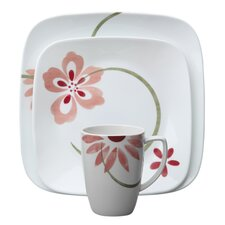<strong>Corelle</strong> Square Pretty Pink 16 Piece Dinnerware Set