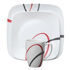 <strong>Corelle</strong> Fine Lines Square 16 Piece Dinnerware Set