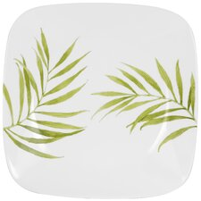 "Square 10.5"" Bamboo Leaf Dinner Plate"