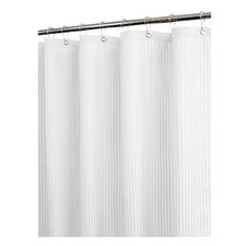 <strong>Watershed</strong> Solid Polyester Satin Stripe with Hooks Shower Curtain