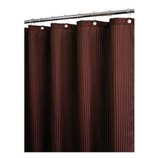 Solid Polyester Satin Stripe with Hooks Shower Curtain