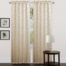 Golden Leaf Rod Pocket Curtain Panel (Set of 2)