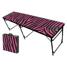 Pink Zebra Folding and Portable Beer Pong Table