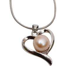 Pink Freshwater Cultured Pearl Heart Pendant Necklace