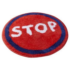 Kids Trucks Stop Sign Red Rug
