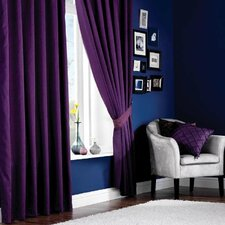 Plain Faux Silk Lined Eyelet Curtain Set (Set of 2)