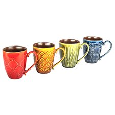 14 oz. Raised Pattern Mug (Set of 4)