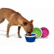 Silicone Dog Travel Bowl in Blue